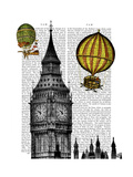 Big Ben and Vintage Hot Air Balloons Premium Giclee Print by  Fab Funky