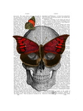 Pink Butterfly Mask Skull Prints by  Fab Funky
