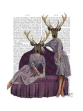 Deer Twins in Purple Posters by  Fab Funky