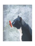 Black Cat Sniffing Flower Prints by  Fab Funky