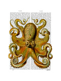 Vintage Yellow Octopus Front Premium Giclee Print by  Fab Funky