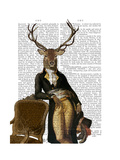 Deer and Chair Full Premium Giclee Print by  Fab Funky