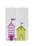 Beach Huts 3 Illustration Prints by  Fab Funky
