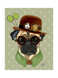 Fab Funky - Pug with Steampunk Bowler Hat Plakát