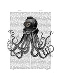 Octopus and Diving Helmet Posters by  Fab Funky