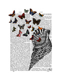 Conch Shell and Butterflies Poster by  Fab Funky