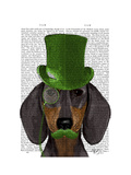 Dachshund with Green Top Hat Black Tan Posters by  Fab Funky