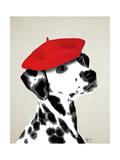 Dalmatian with Red Beret Premium Giclee Print by  Fab Funky