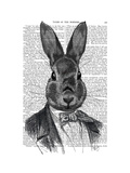 Rabbit in Suit Portrait Posters by  Fab Funky