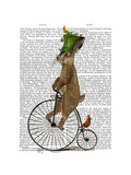 March Hare on Penny Farthing Print by  Fab Funky