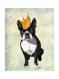 Boston Terrier and Crown Premium Giclee Print by  Fab Funky