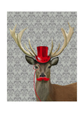 Deer with Red Hat and Moustache Print by  Fab Funky