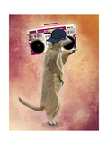Meerkat and Boom Box Premium Giclee Print by  Fab Funky