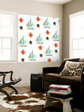 Sailboats Pattern Wall Mural by Sarah Ogren