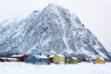 Colorful Houses in Front of a Mountain in Winter Photographic Print by Sergio Pitamitz