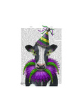 Mardi Gras Cow Art by  Fab Funky
