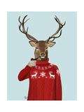Deer in Ski Sweater Premium Giclee Print by  Fab Funky