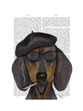 Hipster Dachshund Black and Tan Premium Giclee Print by  Fab Funky