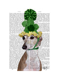 Greyhound in Green Knitted Hat Premium Giclee Print by  Fab Funky