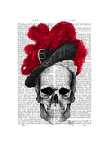 Skull with Red Hat Prints by  Fab Funky