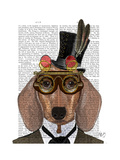 Dachshund with Top Hat and Goggles Premium Giclee Print by  Fab Funky