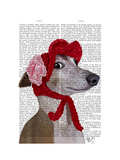Greyhound with Red Woolly Hat Prints by  Fab Funky