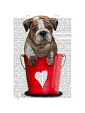 Bulldog Bucket of Love Red Premium Giclee Print by  Fab Funky