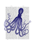 Blue Octopus 4 Premium Giclee Print by  Fab Funky