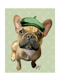 Brown French Bulldog with Green Hat Prints by  Fab Funky