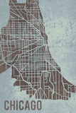 Chicago Street Map Giclee Print by Tom Frazier