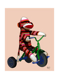 Sock Monkey Tricycle Premium Giclee Print by  Fab Funky