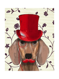 Dachshund with Red Top Hat Posters af Fab Funky