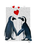 Penguins with Love Hearts Premium Giclee Print by  Fab Funky