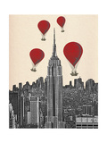 Empire State Building and Red Hot Air Balloons Affiche par  Fab Funky