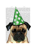 Party Pug Print by  Fab Funky