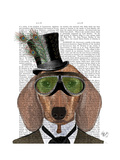 Dachshund Green Goggles Top Hat Premium Giclee Print by  Fab Funky