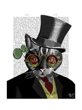 Steampunk Cat - Top Hat and red yellow glasses Posters by  Fab Funky