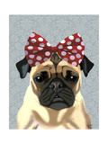 Pug with Red Spotty Bow on Head Art by  Fab Funky