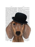 Dachshund with Black Bowler Hat Premium Giclee Print by  Fab Funky