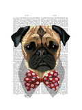 Pug with Red Spotted Bow Tie Prints by  Fab Funky
