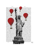 Statue of Liberty and Red Hot Air Balloons Poster by  Fab Funky