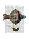 Hot Air Balloon with Tail Feather Posters by  Fab Funky