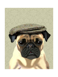 Pug in Flat Cap Posters by  Fab Funky