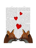 Foxes in Love Premium Giclee Print by  Fab Funky
