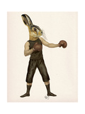 Boxing Hare Premium Giclee Print by  Fab Funky