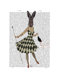 Rabbit in Black White Dress Prints by  Fab Funky