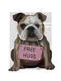 Bulldog Free Hugs Premium Giclee Print by  Fab Funky
