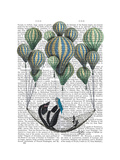 Penguin in Hammock Balloon Premium Giclee Print by  Fab Funky