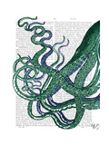 Octopus Tentacles Green and Blue Prints by  Fab Funky
