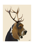Basset Hound and Antlers Print by  Fab Funky